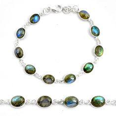 25.20cts natural blue labradorite 925 sterling silver tennis bracelet p72951