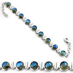 28.61cts natural blue labradorite 925 sterling silver tennis bracelet p81422