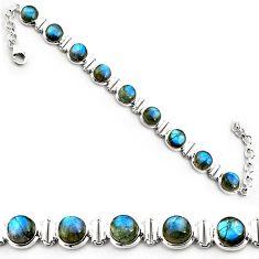29.81cts natural blue labradorite 925 sterling silver tennis bracelet p81423