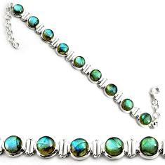 27.91cts natural blue labradorite 925 sterling silver tennis bracelet p81425