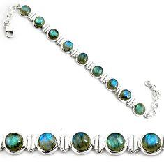 28.56cts natural blue labradorite 925 sterling silver tennis bracelet p81426
