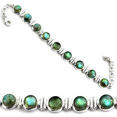 27.51cts natural blue labradorite 925 sterling silver tennis bracelet p81429