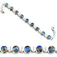 28.99cts natural blue labradorite 925 sterling silver tennis bracelet p81430