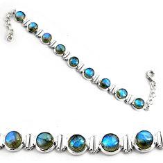 30.19cts natural blue labradorite 925 sterling silver tennis bracelet p81435