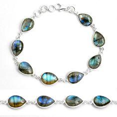 34.31cts natural blue labradorite 925 sterling silver tennis bracelet p87742