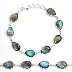 35.62cts natural blue labradorite 925 sterling silver tennis bracelet p87749