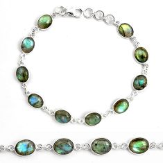 25.83cts natural blue labradorite 925 sterling silver tennis bracelet p87753