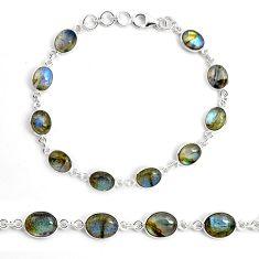 25.86cts natural blue labradorite 925 sterling silver tennis bracelet p87754