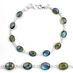 25.86cts natural blue labradorite 925 sterling silver tennis bracelet p87758