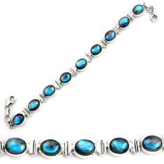 40.36cts natural blue labradorite 925 sterling silver tennis bracelet p87786