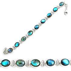 38.31cts natural blue labradorite 925 sterling silver tennis bracelet p87797
