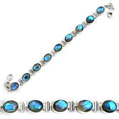 40.77cts natural blue labradorite 925 sterling silver tennis bracelet p87798