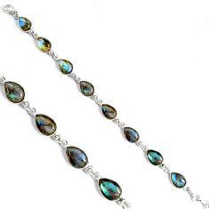 32.73cts natural blue labradorite 925 sterling silver tennis bracelet p89622