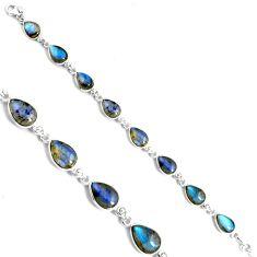 32.68cts natural blue labradorite 925 sterling silver tennis bracelet p89623