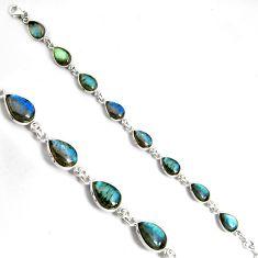 33.24cts natural blue labradorite 925 sterling silver tennis bracelet p89639
