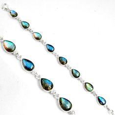 32.14cts natural blue labradorite 925 sterling silver tennis bracelet p89640