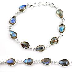 32.70cts natural blue labradorite 925 sterling silver tennis bracelet p92936