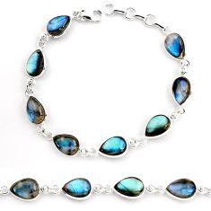 33.24cts natural blue labradorite 925 sterling silver tennis bracelet p92937