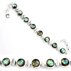 23.87cts natural blue labradorite 925 sterling silver tennis bracelet p92990
