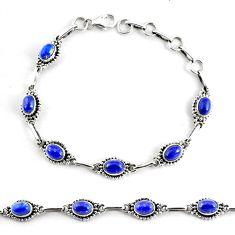 9.23cts natural blue lapis lazuli 925 silver tennis bracelet jewelry p68103