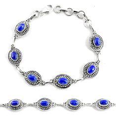 9.72cts natural blue lapis lazuli 925 silver tennis bracelet p68096