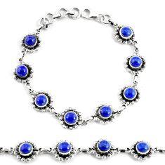 10.61cts natural blue lapis lazuli 925 silver tennis bracelet p68098