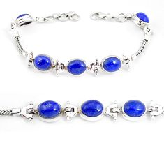 22.89cts natural blue lapis lazuli 925 sterling silver tennis bracelet p54815