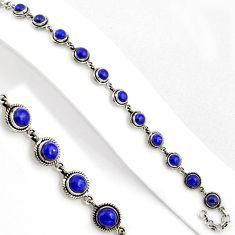 16.76cts natural blue lapis lazuli 925 sterling silver tennis bracelet p89125