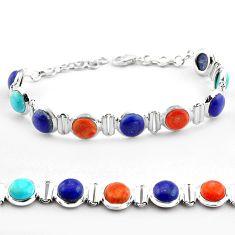 Natural blue lapis lazuli copper turquoise 925 silver tennis bracelet p81454