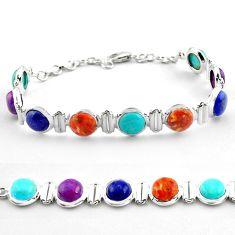 Natural blue lapis lazuli copper turquoise 925 silver tennis bracelet p81458
