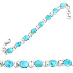 35.38cts natural blue larimar 925 sterling silver tennis bracelet jewelry p34521