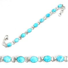 36.16cts natural blue larimar 925 sterling silver tennis bracelet jewelry p34522
