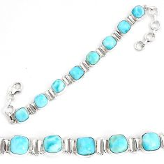 27.02cts natural blue larimar 925 sterling silver tennis bracelet jewelry p34523
