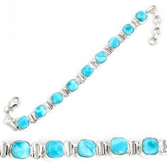 29.22cts natural blue larimar 925 sterling silver tennis bracelet jewelry p34525