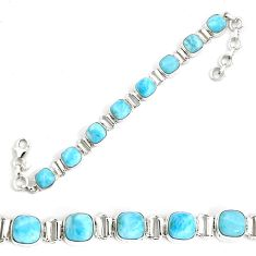 27.02cts natural blue larimar 925 sterling silver tennis bracelet jewelry p34526