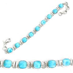 29.90cts natural blue larimar 925 sterling silver tennis bracelet jewelry p34527