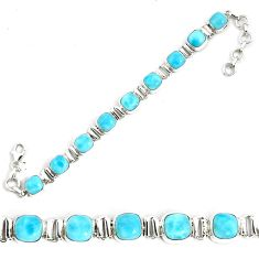 29.55cts natural blue larimar 925 sterling silver tennis bracelet jewelry p34528