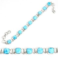 29.90cts natural blue larimar 925 sterling silver tennis bracelet jewelry p34529