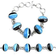 52.87cts natural blue owyhee opal 925 silver tennis bracelet jewelry p46031