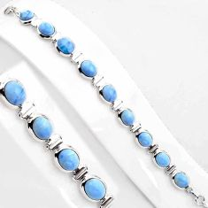 37.47cts natural blue owyhee opal 925 sterling silver tennis bracelet p89031