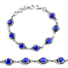 19.04cts natural blue sapphire 925 silver solitaire tennis bracelet p68029