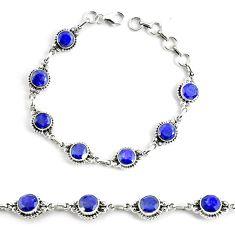18.39cts natural blue sapphire 925 silver solitaire tennis bracelet p68031