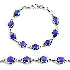 19.30cts natural blue sapphire 925 silver solitaire tennis bracelet p68033