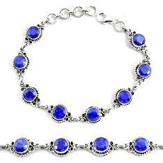 19.04cts natural blue sapphire 925 silver solitaire tennis bracelet p68037