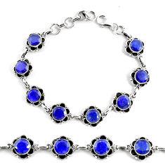 19.53cts natural blue sapphire 925 silver solitaire tennis bracelet p68038