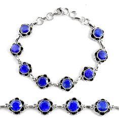 19.34cts natural blue sapphire 925 silver solitaire tennis bracelet p68039