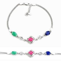 8.03cts natural blue sapphire emerald 925 sterling silver tennis bracelet c2339