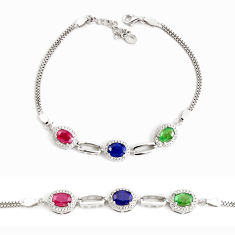 9.91cts natural blue sapphire ruby 925 sterling silver tennis bracelet c2496
