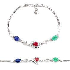 6.48cts natural blue sapphire topaz 925 sterling silver tennis bracelet c2315