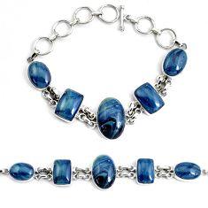 45.52cts natural blue swedish slag 925 silver tennis bracelet jewelry p46033